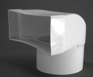 Umlenkstück Flachkanal 220 x 90 mm auf Ø 150 mm Abluftkanal Lüftungsrohr *50307