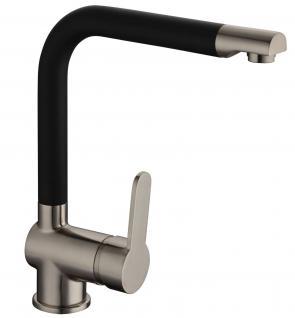 Spülen Küchenarmatur Wasserhahn DORA Einhandmischer Edelstahloptik/Schwarz *0592