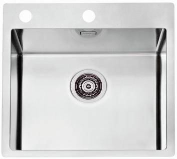 Moderne Einbauspüle Edelstahl 51, 5 cm Küchenspüle Ablaufgarnitur Spüle *1103609