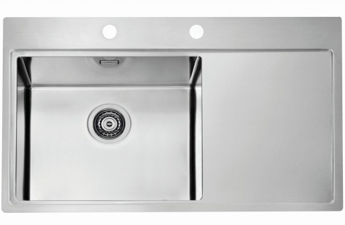 Moderne große Küchenspüle Edelstahl Einbauspüle 86 cm Spülbecken links *1103652