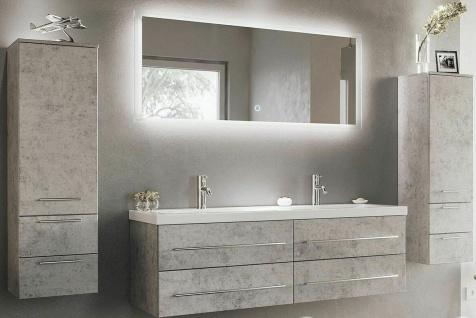 Modernes Badmöbelset mit großem Doppelwaschtisch 144 cm Badezimmer Möbel Beton