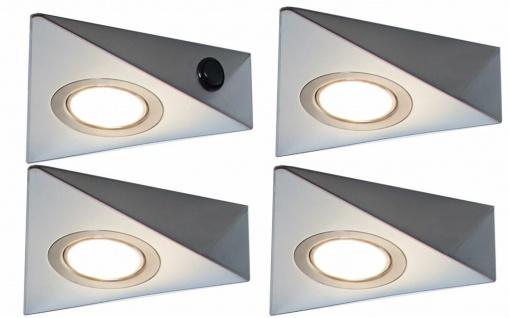 4er Set LED Unterbauleuchte Küche 4x3 W Edelstahl Unterbaulampe warmweiß *548835