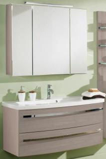 Waschplatz 112 cm LED Spiegelschrank Pinie-Honig 2 Teile Badset Badmöbel *121634