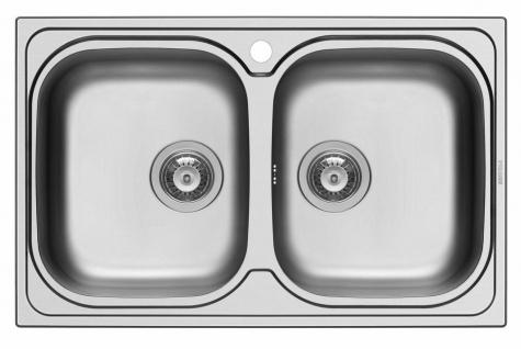 Küchenspüle 79x50 cm Doppelspüle Amaltia Doppelbecken Spüle Spülbecken Hahnloch