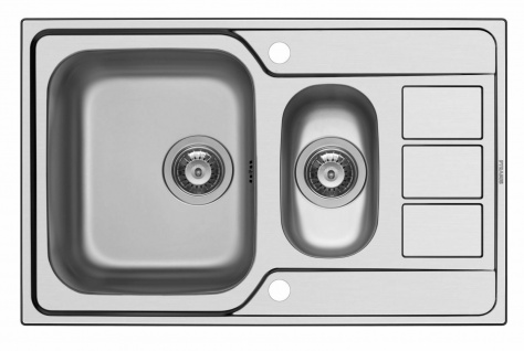 Küchenspüle drehbar Edelstahl Einbauspüle 79 cm Spüle mit Hahnloch *101200312