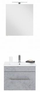 Waschplatz 61, 5 cm Keramikbecken LED Spiegelschrank Beton-Optik Badset *Vi2-216