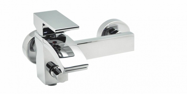Design Badarmatur CALLI Wasserhahn Wannenfüllarmatur Schwallauslauf Chrom *0729 - Vorschau 1