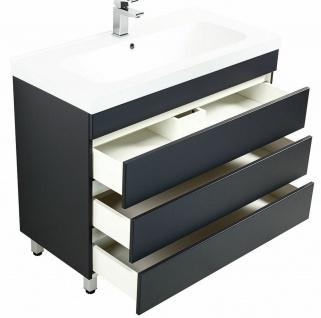 Waschtisch 91 cm stehend Becken Waschplatz Badezimmer Standmöbel 3 Schubladen