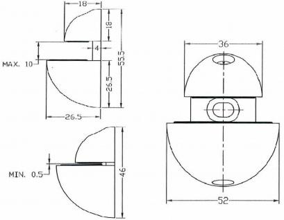 1 Glasbodenhalter Glasbodenträger 10 mm Glasboden Halterung Edelstahl Optik *507 - Vorschau 2