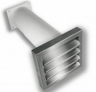 Mauerkasten Abluft 220x90 mm ausziehbar Flachkanal Edelstahl Außengitter *528363
