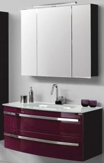 Waschplatz 111 cm Glasbecken LED Spiegelschrank Badset Badmöbel montiert *022434