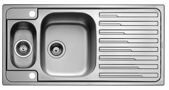Küchenspüle 100 cm Edelstahl-Spüle Einbauspüle Hahnloch Resteschale *107145714