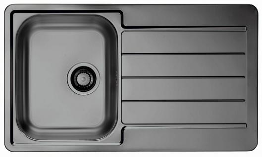 Küchenspüle anthrazit 86 cm moderne Einbauspüle Ablaufgarnitur Überlauf *1078569