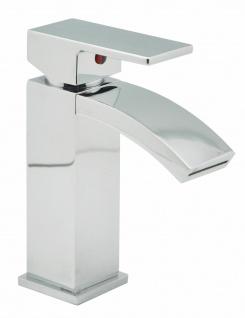 Badarmatur eckig Wasserhahn Waschtischarmatur modern Schwallauslauf Calli *0728