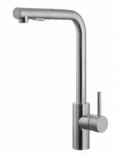 Küchenarmatur Wasserhahn Edelstahl massiv Geschirrbrause 90° schwenkbar *0574