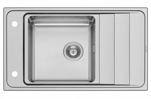 Moderne Küchenspüle Studio Edelstahl Einbauspüle 86 cm Hahnloch Spülbecken Spüle