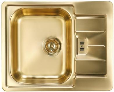 Einbauspüle gold Küchenspüle 61, 5 cm Spülbecken Ablaufgarnitur Überlauf *1069001
