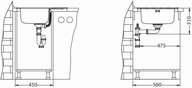 Kleine Küchenspüle 61, 5 cm Edelstahl Einbauspüle Camping Spüle Ablauf *1100215 - Vorschau 4