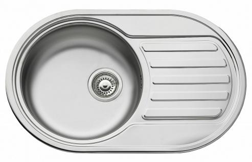 Küchenspüle 76, 5 cm Hahnloch Einbauspüle oval Edelstahl 1 Spülbecken *100167014
