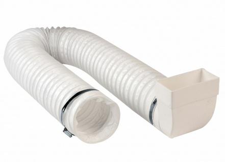 Umlenkstück Flachkanal 110x54 mm auf Ø 100 mm Flexschlauch 50cm Dunstabzug Küche