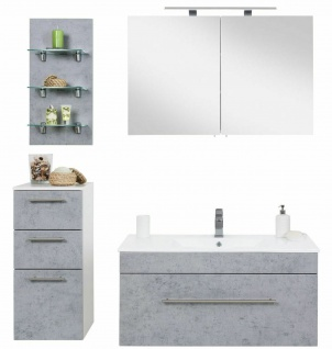 Badezimmer 4 Teile Beton Optik Waschplatz 100 cm LED Spiegelschrank Badmöbel-Set