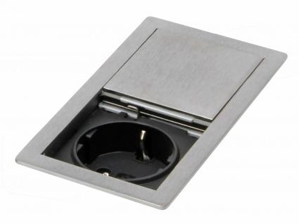 Küchen Einbausteckdose IP 54 Arbeitsplatte max 3400 Watt Edelstahl Optik *569571