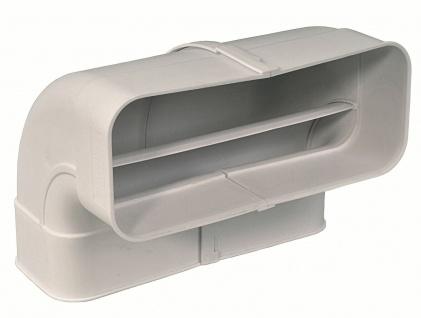 Flachkanal Abluft Abzugshaube 222x89 mm Bogen 90° senkrecht mit Muffen *50555