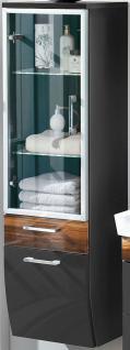 Hochschrank 40 x 135 x 30 cm Badschrank LED Glasboden Beleuchtung Licht *5814-85