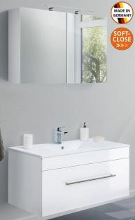 Badset Viva Waschtisch 100 cm Keramikbecken Spiegelschrank 2 Teile Badmöbelset