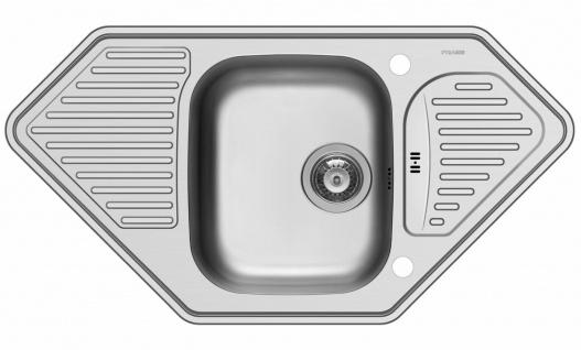 Moderne Eckspüle 95 cm Einbauspüle Eckeinbau Edelstahl Küchenspüle *108771312