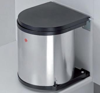 Wesco Edelstahl Bad Kosmetik-/Abfall-/Mülleimer Küche 11, 13, 15 Liter *Rund-2.LP