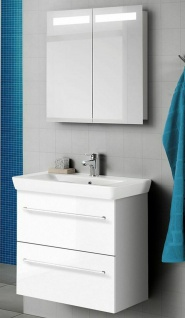 Waschplatz 60 cm LED Spiegelschrank Porzellanbecken Waschtisch montiert *319934