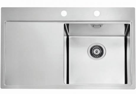 Edelstahl Einbauspüle große Küchenspüle 79 cm Gastro Spüle mit Hahnloch *1103651