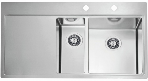 Große Küchenspüle Edelstahl 98 cm Gastro Einbauspüle Spülbecken rechts *1103655