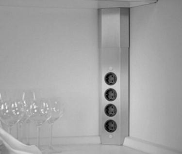 Teleskop Ecksteckdose edelstahl Küchensteckdose Pedro Mehrfachsteckdose *504237