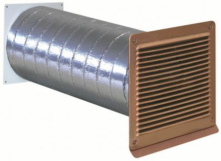 Mauerkasten Abluft Ø 125 mm Abzugshaube Rückstauklappe Außengitter kupfer 568338