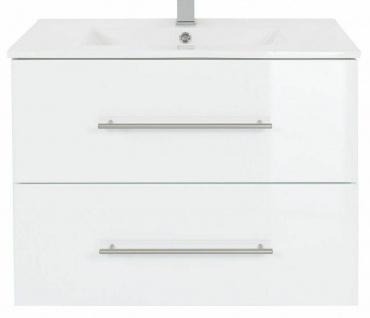 Waschplatz 60 - 140 cm Keramikbecken Schublade SoftClose Hochglanz *Holi-WP-W - Vorschau 2