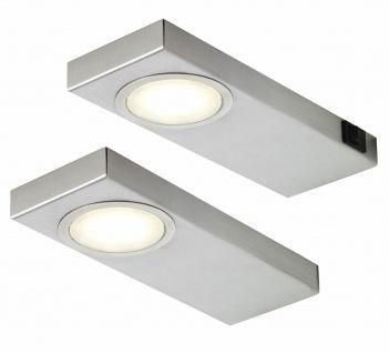 LED 2-er Set Edelstahl Küchen Unterbauleuchte 2 x 3, 5 Watt Warmweiss *549238