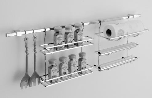 Edelstahl Küchenreling Set Relingsystem Rollenhalter Gewürzbord S-Haken *Quad