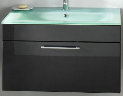 Waschplatz mit Glasbecken 90 cm Waschtisch Heron anthrazit Bad Waschbecken *5711