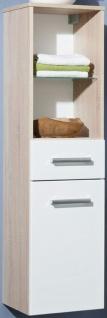 Hochschrank 35 x 131 cm Badmöbel SoftClose Badschrank Holzdekor/Weiss *83203