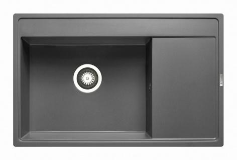 Einbauspüle 79x50 cm moderne Küchenspüle Camea Spüle iron grey Spülbecken eckig