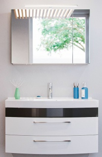 Badezimmer Waschtisch 100 cm LED Spiegelschrank 2 Teile Badset Rima Badmöbel-Set