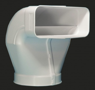 Umlenkstück Flachkanal Abluft 222x89 mm auf Ø 150 mm Rundrohr Abzugshaube *50553