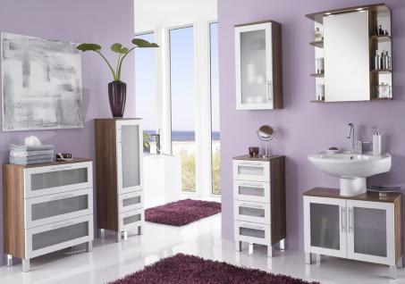 Badset 6 Teile Badmöbel komplett LED Spiegelschrank Gäste Badezimmer *BS-Elan