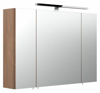Badezimmer Spiegelschrank 90 cm breit mit LED Beleuchtung 3-türig Badmöbel *5674