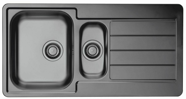 Moderne Küchenspüle anthrazit 98 cm Einbauspüle 1, 5 Waschbecken Spüle *1078568