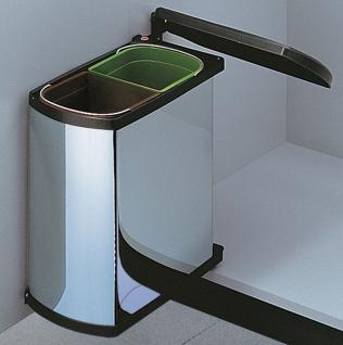 Hailo Duo 45 Küchen Einbau Abfall Mülleimer 2 x 8 Liter Dreh-Kipp-Deckel *516186