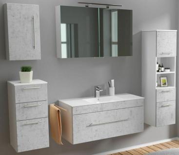 Badmöbelset Viva komplett Waschplatz 100 cm LED Spiegelschrank 5 Teile Badset