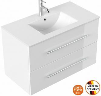 Waschtisch mit Unterschrank 90 cm großer Waschplatz Homeline 2 Schubladen weiss